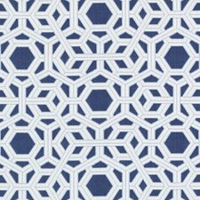 Navy Geometric Decorator Fabric by Duralee