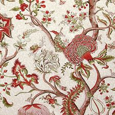 Turkey Red On Lime Decorator Fabric by Scalamandre