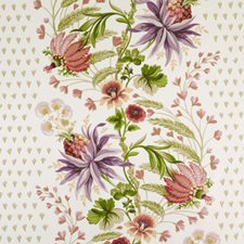 Raspberry/Green Floral Large Decorator Fabric by Duralee