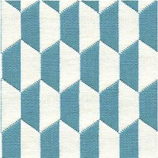 Aegean/Ivory Geometric Decorator Fabric by Lee Jofa