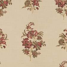 Olive/Red Print Decorator Fabric by Lee Jofa