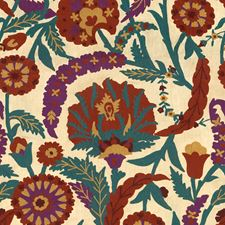 Red/Plum Embroidery Decorator Fabric by Lee Jofa