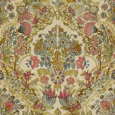 Rose/Aqua Damask Decorator Fabric by Lee Jofa