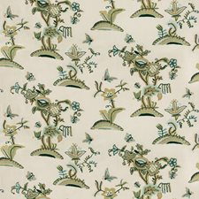 Jade/Olive Crewel Decorator Fabric by Lee Jofa