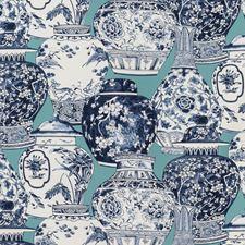 Aqua/Blue Chinoiserie Decorator Fabric by Lee Jofa