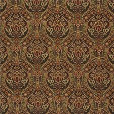 Green/Burgundy/Red Damask Decorator Fabric by Kravet