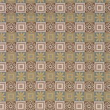 Brown/Blue/Beige Geometric Decorator Fabric by Kravet
