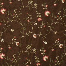 Chocolate Embroidery Decorator Fabric by Fabricut