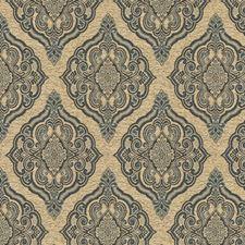 Beige/Blue/Light Blue Damask Decorator Fabric by Kravet