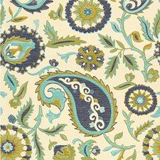 White/Blue/Green Botanical Decorator Fabric by Kravet