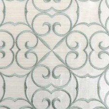 Aqua Embroidery Decorator Fabric by Duralee