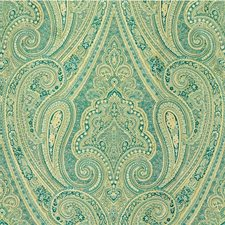 Beige/Teal Paisley Decorator Fabric by Kravet