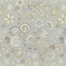 Silver Grey Botanical Decorator Fabric by Kravet