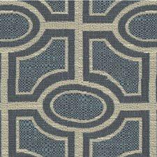 Blue/Beige Geometric Decorator Fabric by Kravet