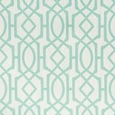 Turquoise/White Geometric Decorator Fabric by Kravet