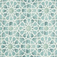 Blue/Turquoise/White Ethnic Decorator Fabric by Kravet