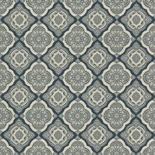 Dark Blue/Beige Medallion Decorator Fabric by Kravet