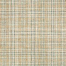 Camel/Ivory/Light Blue Plaid Decorator Fabric by Kravet