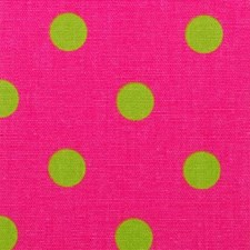 Raspberry/Green Dots Decorator Fabric by Duralee