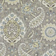Platinum/Olive Floral Large Decorator Fabric by Duralee