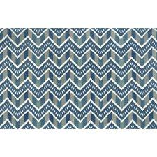 Blue Flamestitch Decorator Fabric by Brunschwig & Fils