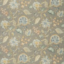Aqua Linen Floral Decorator Fabric by Fabricut