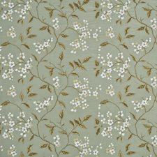 Aqua/Bronze Embroidery Decorator Fabric by G P & J Baker