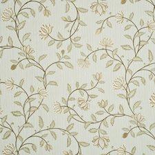 Sand/Aqua Embroidery Decorator Fabric by G P & J Baker