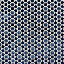 Blue Geometric Decorator Fabric by G P & J Baker