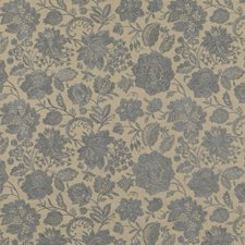 Blue Embroidery Decorator Fabric by G P & J Baker
