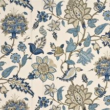 Indigo/Taupe Botanical Decorator Fabric by G P & J Baker