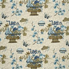 Stone/Indigo Botanical Decorator Fabric by G P & J Baker