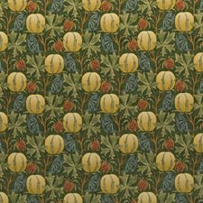 Green/Terracotta Print Decorator Fabric by G P & J Baker