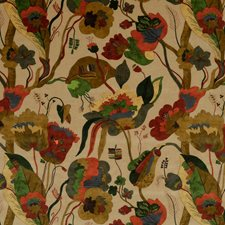 Red/Cream Botanical Decorator Fabric by G P & J Baker