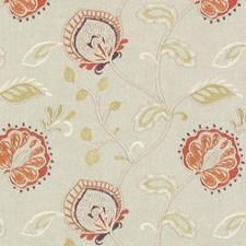 Papaya/Sage Embroidery Decorator Fabric by Duralee