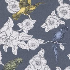 Charcoal Birds Decorator Fabric by Duralee