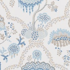Natural/Blue Floral Large Decorator Fabric by Duralee