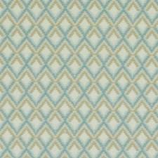 Natural/Aqua Diamond Decorator Fabric by Duralee