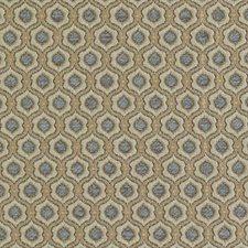Aqua/Gold Medallion Decorator Fabric by Duralee