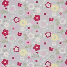 Grey Floral Small Decorator Fabric by Clarke & Clarke