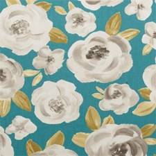 Teal Floral Large Decorator Fabric by Clarke & Clarke