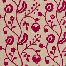 Raspberry Crewel Decorator Fabric by Clarke & Clarke