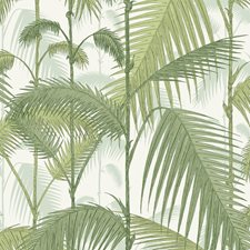 Olv Grn On Wht Botanical Decorator Fabric by Cole & Son