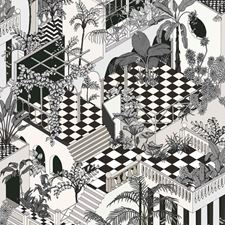 Blk Wht Modern Decorator Fabric by Cole & Son