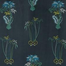 Navy Botanical Decorator Fabric by Clarke & Clarke