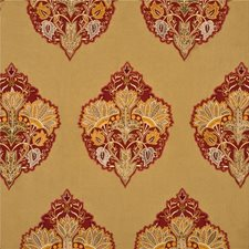 Red/Gold Embroidery Decorator Fabric by Mulberry Home