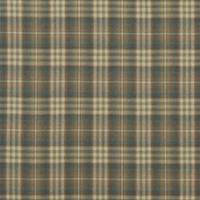 Teal/Russet Check Decorator Fabric by Mulberry Home