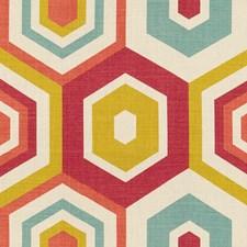 Raspberry Geometric Decorator Fabric by Groundworks