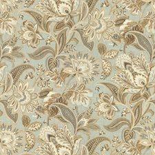 Light Blue/Brown/Beige Botanical Decorator Fabric by Kravet