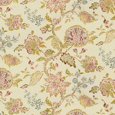 White/Green/Pink Botanical Decorator Fabric by Kravet